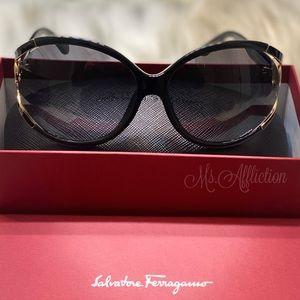 Salvatore Ferragamo Black/Gold Gancini Sunglasses
